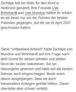 Hofberichterstattung bei T-online. Es gibt keinerlei beweise, dass Uwe Böhnhardt und Uwe Mundlos überhaupt in Heilbronn waren.