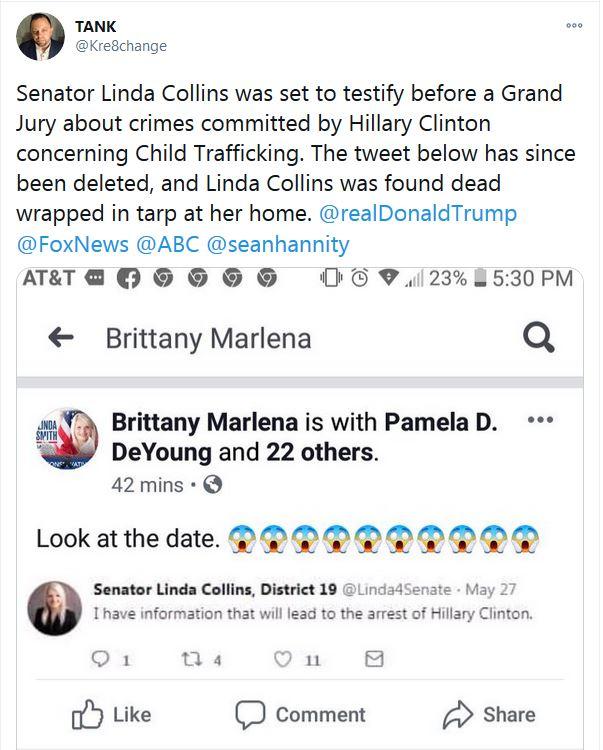 Tank (Twitter):Senatorin Linda Collins sollte vor einer Grand Jury über Verbrechen von Hillary Clinton im Zusammenhang mit Kinderhandel aussagen.