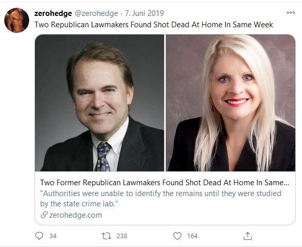 Zwei republikanische Gesetzgeber wurden in derselben Woche zu Hause erschossen aufgefunden